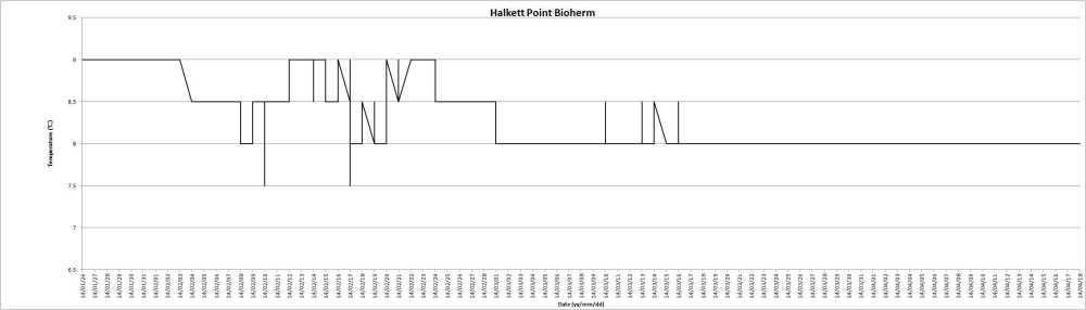 Temperature changes at Halkett bioherm from  January 26 to April 14, 2014. Graph prepared by Lena Clayton