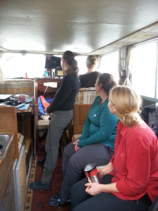 Lena Clayton taking team ENVR 400 to see sponge bioherms